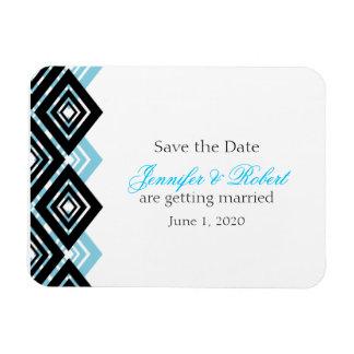 Diamond Valance Black Aqua Wedding Save the Date Vinyl Magnet