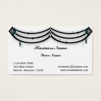 Diamond Valance in Black and Aqua Business Card
