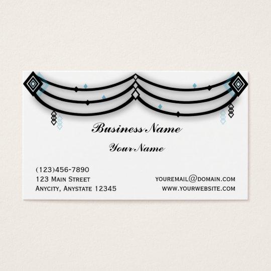 Diamond Valance in Black and Aqua Business Card