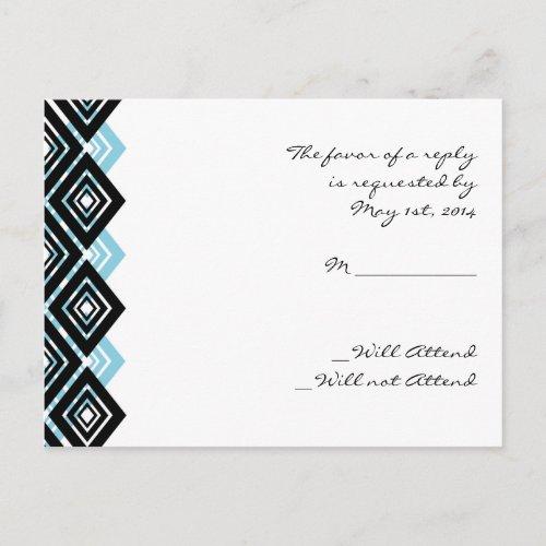 Diamond Valance in Black and Aqua Response postcard