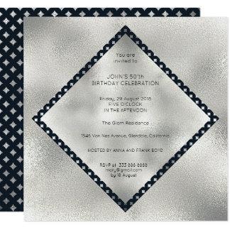 Diamond Vip Birthday Party Art Deco Marine Silver Card