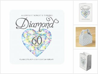 Diamond watercolor art 60th Wedding Anniversary