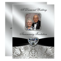 Diamond Wedding Anniversary 4.25x5.5 Photo Invite