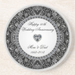 "Diamond Wedding Anniversary Coaster<br><div class=""desc"">A Digitalbcon Images Design featuring a platinum silver and black color theme with a variety of custom images, shapes, patterns, styles and fonts in this one-of-a-kind &quot;60th Wedding Anniversary&quot; Coaster. This elegant and attractive design makes both a personal and a practical gift to the anniversary couple or as a memento...</div>"