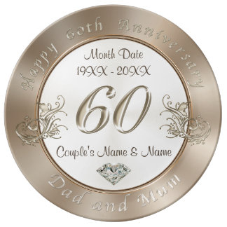 Diamond Wedding Anniversary Gifts for Dad and Mum Porcelain Plate