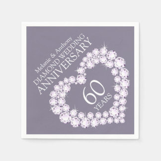 Diamond Wedding Anniversary heart name napkins