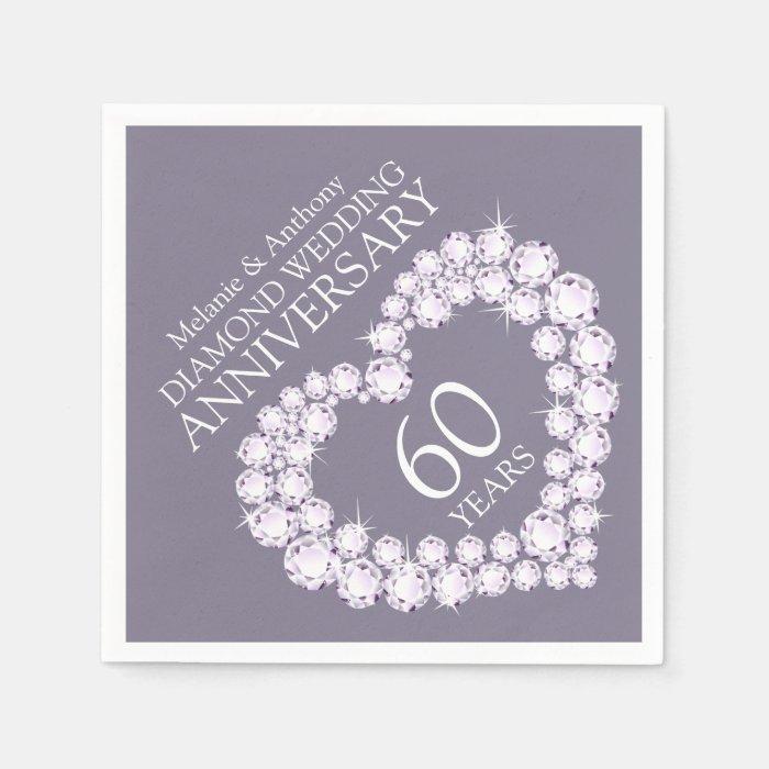 Diamond wedding anniversary heart name napkins zazzle