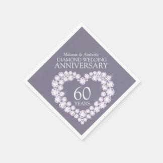 Diamond Wedding Anniversary heart name napkins