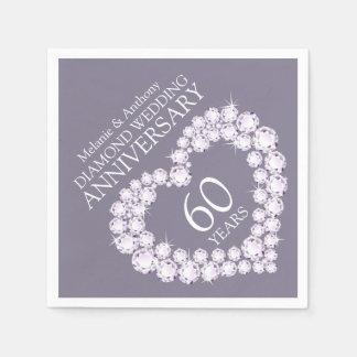Diamond Wedding Anniversary heart name napkins Standard Cocktail Napkin