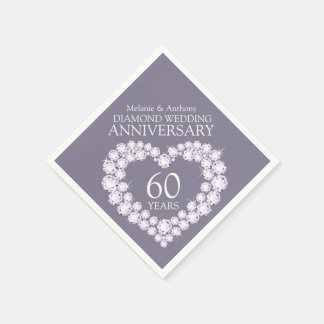 Diamond Wedding Anniversary heart name napkins Disposable Napkin