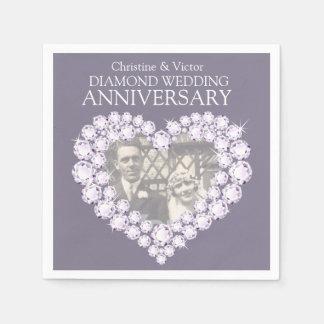 Diamond Wedding Anniversary heart photo napkins