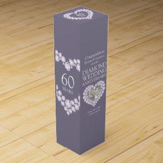 Diamond wedding anniversary heart photo wine box