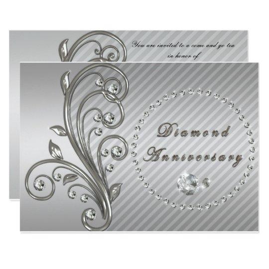 Diamond Wedding Invitation Label: Diamond Wedding Anniversary Invitation