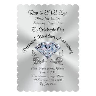 Diamond Wedding Anniversary Invitations, YOUR TEXT Card