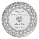 Diamond Wedding Anniversary Melamine Plate