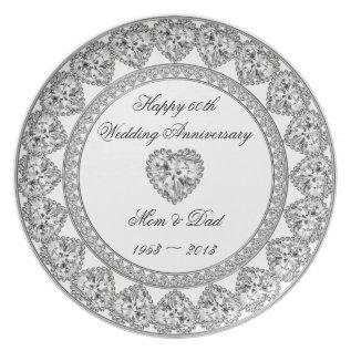 Diamond Wedding Anniversary Melamine Plate at Zazzle