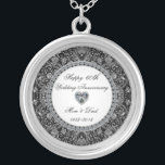 """Diamond Wedding Anniversary Necklace<br><div class=""""desc"""">A Digitalbcon Images Design featuring an Platinum Silver and Diamond color theme with a variety of custom images, shapes, patterns and styles in this one-of-a-kind &quot;60th Wedding Anniversary&quot; Necklace. This elegant and colorful design makes the ideal gift for the Anniversary gift for the wife or as a gift for family...</div>"""
