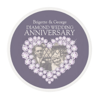Diamond Wedding Anniversary photo heart frosting Edible Frosting Rounds