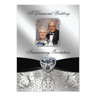"Diamond Wedding Anniversary Photo Invitation Card 4.5"" X 6.25"" Invitation Card"