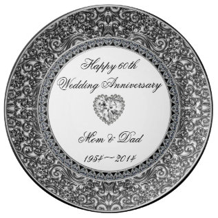 Diamond Wedding Anniversary Porcelain Plate at Zazzle