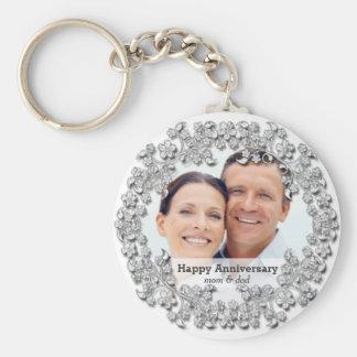 Diamond wedding anniversary with a photo basic round button keychain