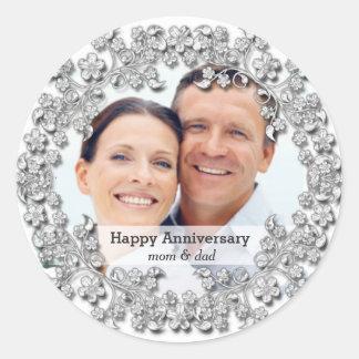Diamond Wedding Anniversary with a photo Classic Round Sticker