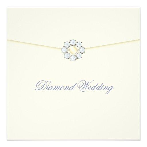 Diamond Wedding Anniversary with Diamond Broach Personalized Invite