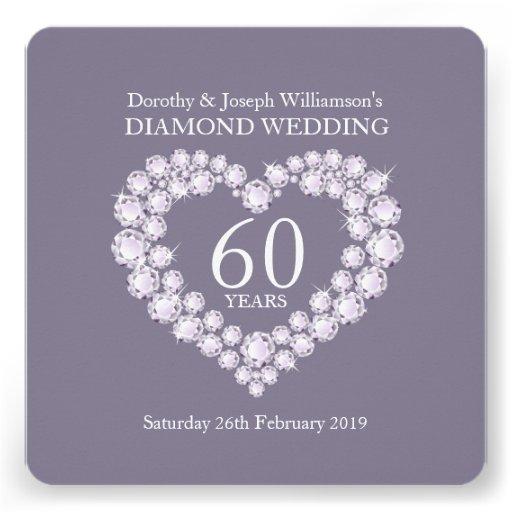Diamond wedding diamonds heart 60 party invite