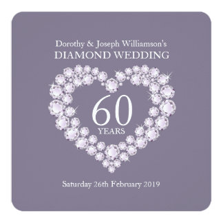 Diamond wedding diamonds heart 60 party invite