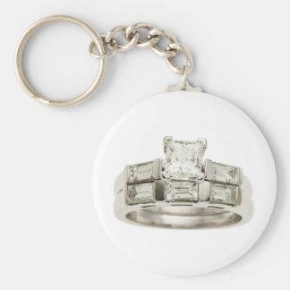 Diamond Wedding Engagement Ring Hint Hint Basic Round Button Keychain