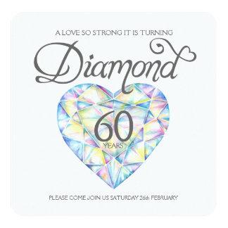 Diamond wedding love so strong heart watercolor card