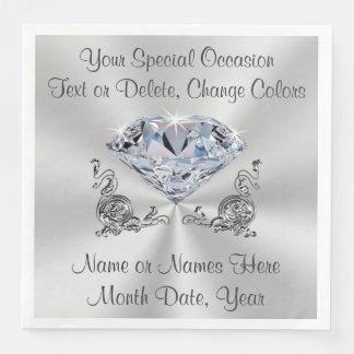Diamond Wedding Napkins, Anniversary or Birthday Paper Dinner Napkin
