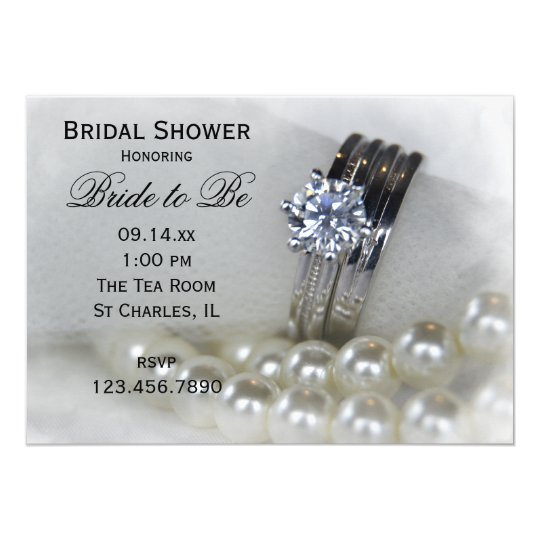 Diamond Wedding Rings and Pearls Bridal Shower Card