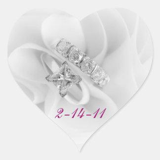 Diamond Wedding Rings Heart Sticker