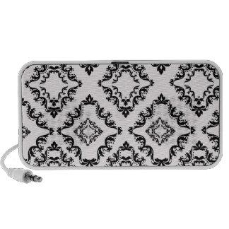 diamond white black damask elegance iPod speaker
