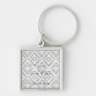 diamond white black damask elegance key chain