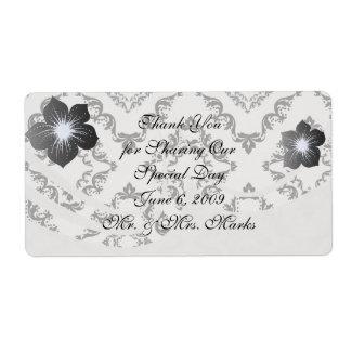 diamond white black damask elegance shipping label