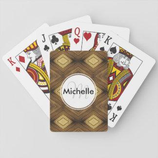 Diamond Wood Pattern Custom Monogram Deck Of Cards