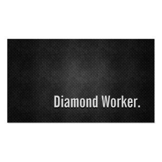 Diamond Worker Cool Black Metal Simplicity Business Card Templates