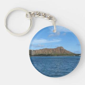 Diamondhead Oahu Hawaii Double-Sided Round Acrylic Keychain