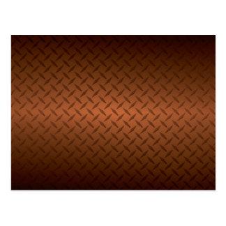 Diamondplate Look Pattern Black to Copper Fade Postcard