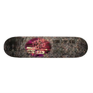 Diamondplate with dark Grunge Template Skateboard