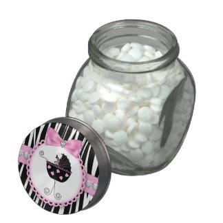 Diamonds and Bow Pink Zebra Baby Shower Candy Glass Jar