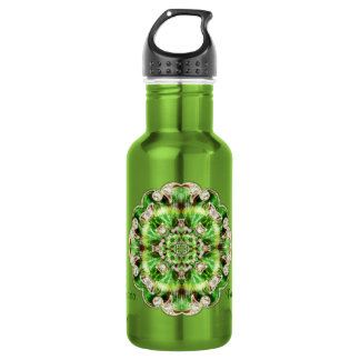 Diamonds and Clover Leaf round Brooch design Water Bottle