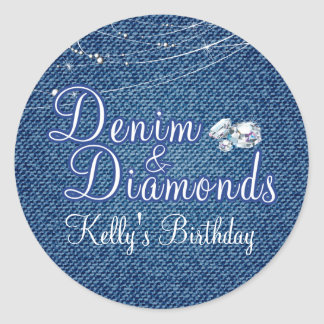Diamonds and Denim Party Stickers