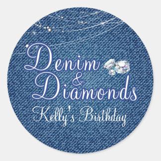 Diamonds and Denim Party Stickers