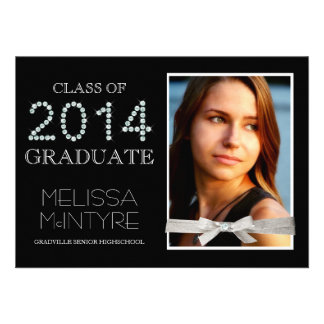 Diamonds and Glitter Bling Grad 2014 with Photo Personalized Invites