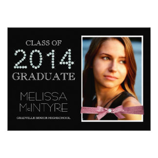 Diamonds and Glitter Bling Grad 2014 with Photo Personalized Announcement