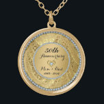 """Diamonds And Gold 50th Wedding Anniversary Gold Finish Necklace<br><div class=""""desc"""">Elegant gold tones floral border with 2 hearts and a diamond,  Gold 50th Wedding Anniversary . It comes in silver tones for 25th anniversary.</div>"""