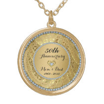 Diamonds And Gold 50th Wedding Anniversary Gold Finish Necklace